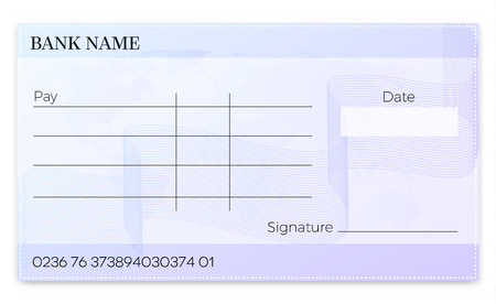Blank bank cheque . Empty vector  pay  check