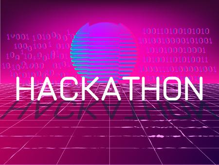 Hackathon event banner . 3d 80s style concept
