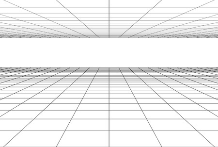 perspective grid floor background . 3d geometric backdrop Illustration
