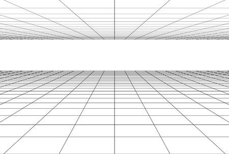 perspective grid floor background . 3d geometric backdrop Illustration