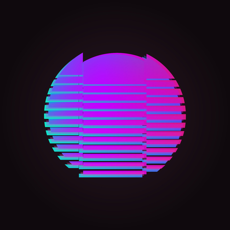 80s glowing neon sun glitch effect isolated Illustration
