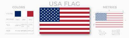 Usa flag Specifications . Metrics , colors , proportions , size