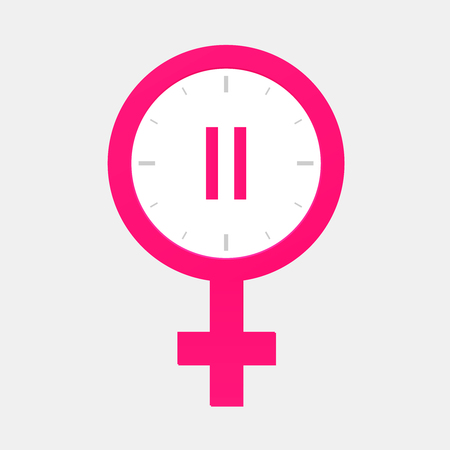 Menopause  icon with clock   Menstruation cycle symbol .
