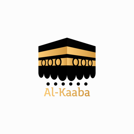 Hajj Mabrour arabic calligraphy islamic greeting with kaaba Illustration