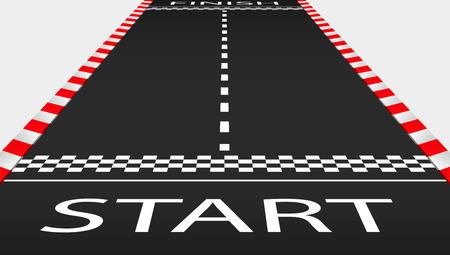 Vista de la pista de carreras internacional de asfalto vacía