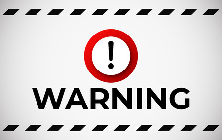 Warning attention banner . Red caution sign vector