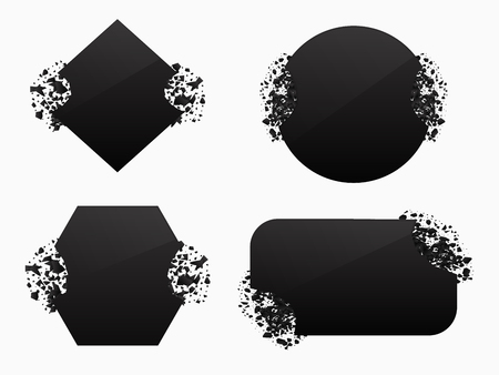 Set of black explosion black vector  banners