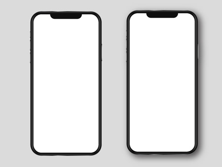 Moden mobile phone mockup . Smartphone  blank white screen.