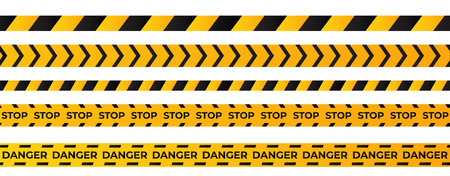 Construction caution tape . Yellow danger area ribbon . Ilustrace
