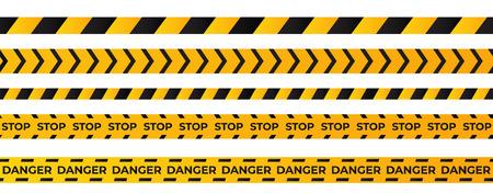 Construction caution tape . Yellow danger area ribbon . Illustration