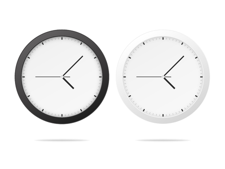 White and black wall office clock icon set. Ilustrace