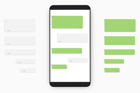 Mobile chat template .  Text dialog boxes and  on mobile phone screen . Ilustrace