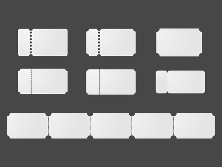 Blank ticket templates . White coupon mockup set.