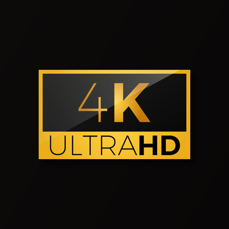 4K ultra HD icon . Bright golden high resolution