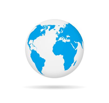 Ikona glob mapa świata. Ziemia na białym tle wektor