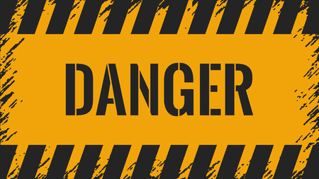 Dander wall yellow background .  Grunge danger sign . Ilustração
