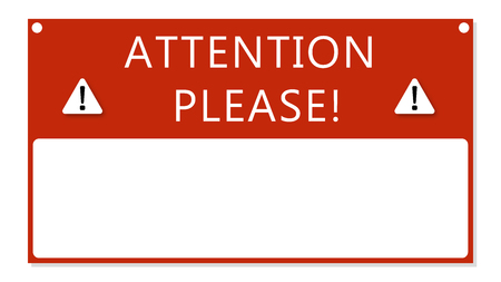 Attention text frame .  Important notice message red banner . Illustration