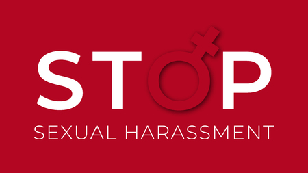 Sexual harassment stop illustration . Against sexual violence banner. Çizim