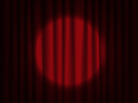 Spotlight on stage curtain. Theater vector drapes.
