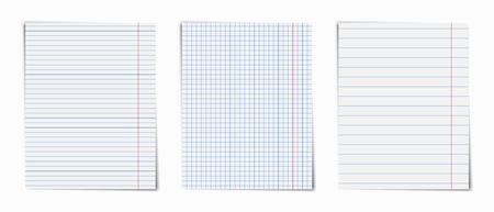 Notebook pagina's ingesteld. Kladblok blanco vel papier.