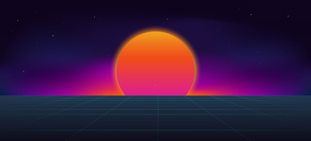 Cyberpunk neon sun background .  80s and 90s style illustration . Ilustração