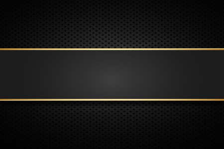 Golden line banner . Gold dark vector  background .