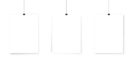 White paper poster mockup .  Wall advertising mockup .