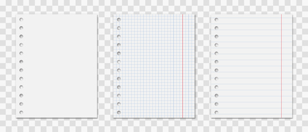 Notepad sheet with holes set . Realistic  notes .