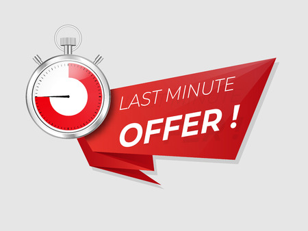 Last minute offer promo . Sale timer  countdown . Limited discount .