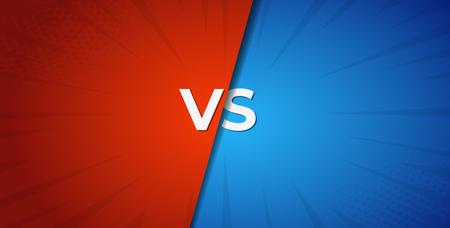 Vs contre fond de bataille rouge et bleu. Compétition de boxe.