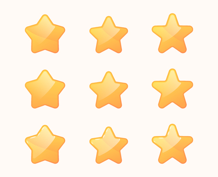 Cartoon stars set. Golden star icons .  Ui bonus elements .