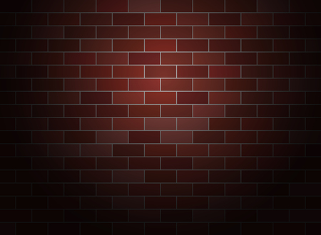 Dark brick wall background .  Spotlight vector brickwall.