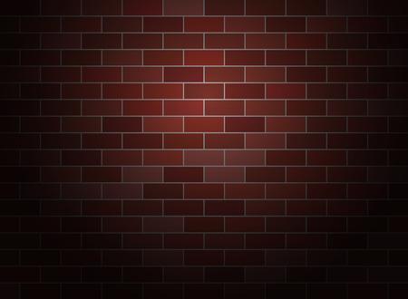 Dark brick wall background .  Spotlight vector brickwall.