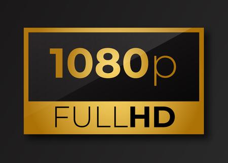 Full hd 1080p golden symbol . Fullhd icon .