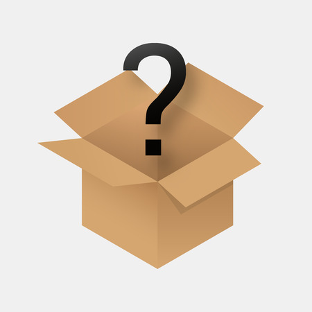 Mystery box icon .  Secret box with surprise inside .