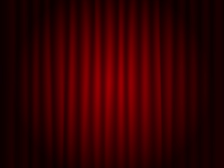 Theater red drape  background . Theatre scene vector . Ilustração