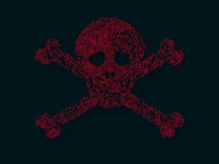 Binary code skull .  Hack concept . Cyber attack . Ilustrace