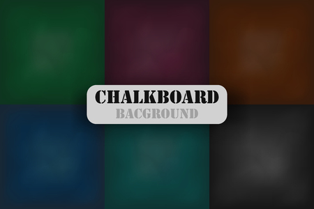 Chalkboard background vector . Dark grunge  school boards set .