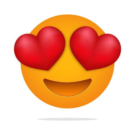 Love  emoji . Heart eyes face . In love character.