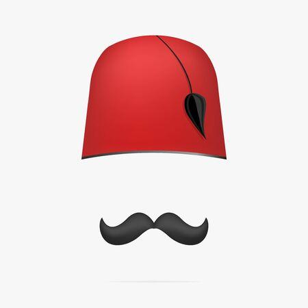 Ottoman turkish hat . Tarboosh cap and mustache vector. Illustration
