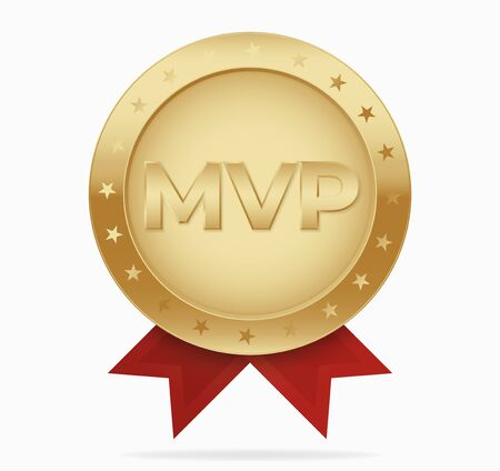 Mvp golden medal award vector. Most valuable player reward .
