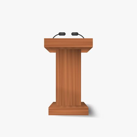Speech vector podium .  Wooden isolated vector stand .