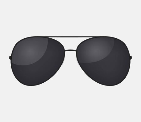 Aviator police isolated sunglasses . Vector black glasses . Ilustrace