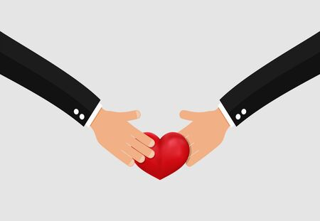 Hand giving heart . Donation concept . Donate blood , organ or money symbol .  イラスト・ベクター素材