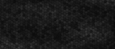 Black wall with hexagon tiling. Dark background with carbon hexagonal tiles or polygonal cells. Abstract geometric backdrop with honeycomb pattern or texture. Modern monochrome vector illustration.