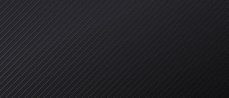 Black abstract backdrop with diagonal parallel lines. Dark banner design template with metal linear texture. Futuristic minimal background. Modern monochrome vector illustration for decoration.