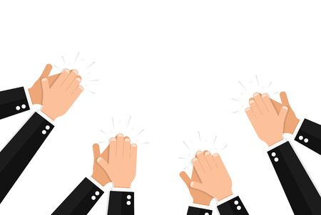 Clapping hands of people wearing elegant formal suits on white background. Banner template with applause, public approval or praise for luxury event celebration. Flat cartoon vector illustration. Ilustrace
