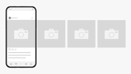 Smartphone with photo social network interface on screen. Cellphone and frames for web photographs with camera symbol. Realistic vector illustration for mobile application advertising. 向量圖像