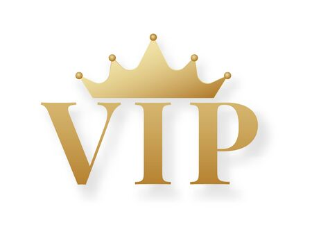 Golden VIP sign or emblem with crown isolated on white background. Symbol of luxury, premium quality, exclusive status, privilege membership, glamour. Elegant vector illustration.