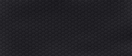 Futuristic background with hexagonal cells. Modern abstract geometric backdrop template decorated by polygons. Black textured banner with hexagons. Carbon grid. Modern monochrome vector illustration. Ilustrace
